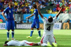 Final del partido gana Costa Rica marcadr 1-0 a Italia Brasil 2014