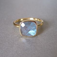 Labradorite Square Gold Ring @Michelle Flynn Sievers Joshi