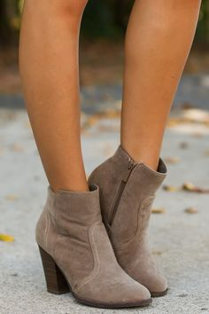 Play It Cool Taupe Ankle Boots at reddressboutique.com