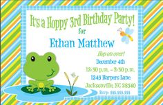 Set of 24 Frog Birthday Party Invitations Custom. $24.00, via Etsy.