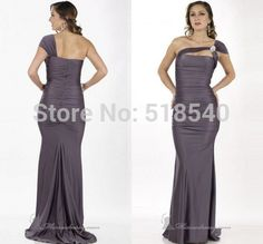 sexy new one shoulder straps flower pleated open back a-line long Vestidos De Fiesta prom party evening dresses