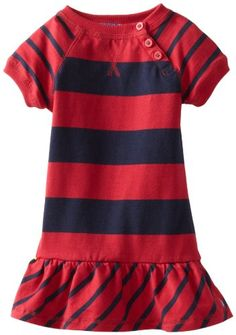 Nautica Little Girls' Short Sleeve Stripe Dress, Sail White, Girl Sleeves, Holiday Dresses, Striped Dress, Kids Girls, Sportswear, Cold Shoulder Dress, Casual, Nautical, Stuff To Buy