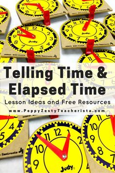 Elementary teacher looking for new math games and math centers to help teach elapsed time? This blog post details how to start with telling time lesson plans and free telling time activites and telling time games. She then goes into detail about elapsed time activites and gives lots of FREE resources!