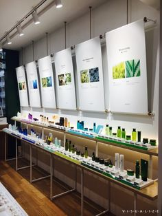 For branding, Simple concept with our color theme Retail Interior Design, Showroom Design, Retail Store Design, Retail Shop, Cosmetic Display, Cosmetic Shop, Cosmetic Design, Store Signage, Retail Signage