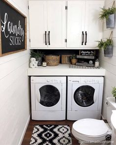 Modern farmhouse laundry room and half bath. Jessica Madison Home IG: jessicamadisonhome Tiny Laundry Rooms, Farmhouse Laundry Room, Laundry Room Design, Table Design, Küchen Design, Design Ideas, Interior Design Living Room Warm, Used Kitchen Cabinets, Madison Homes