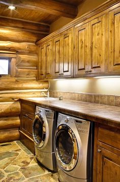 Some basement laundry room ideas are the best solutions. If you have an unused space under your house, making it a laundry room would complete your house. Some people wouldn't want to design their basement because they're not around there . Log Cabin Living, Log Cabin Homes, Log Cabins, Casas Country, Rustic Laundry Rooms, Log Cabin Bathrooms, Log Cabin Kitchens, Rustic Bedrooms, Log Home Interiors