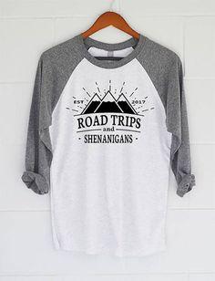 9c01d715 Road Trip Shirt, Road Trips & Shenanigans Baseball T-Shirt. Womens Top.  Raglan Shirt. Slouchy Tee. Gift