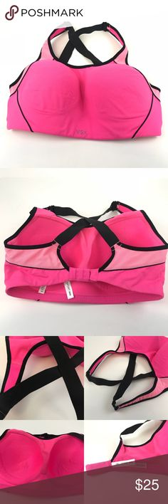 VSX Victoria's Secret 34DD Sports Bra Pink Black VSX Victoria's Secret 34DD Sports Bra Pink Black Criss Cross Detail in back. Padded. Wire free/Wireless/no Wire. Minimal pilling. See pics for signs of wear. Adjustable straps. Brighter pink than pics perceive. Still lots of wear left in this. Victoria's Secret Intimates & Sleepwear Bras
