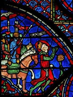 Chartres Cathedral window w. 7, Panel 11 Charlemagne prays before the battle