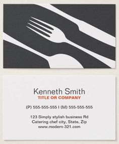 Chef cooking utensils catering business cards pinterest chef or catering business cards with modern gray cutlery modern minimalistic and elegant colourmoves