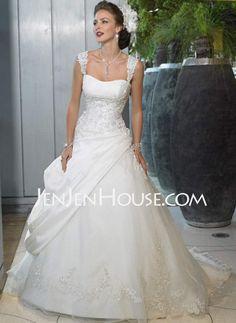 A-Line/Princess Sweetheart Chapel Train Organza  Satin Wedding Dresses With Ruffle  Beadwork
