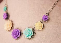 Handmade Necklace Lavender Rose Necklace Aqua Flower Lavender Flower Flower Bib Necklace Lavender Bridesmaid Aqua Bridesmaid Wedding Jewelry