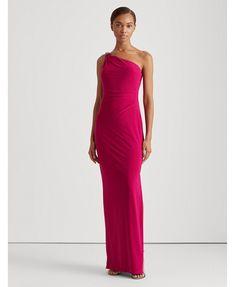 Lauren Ralph Lauren Jersey One-Shoulder Gown, Created for Macy's & Reviews - Dresses - Women - Macy's