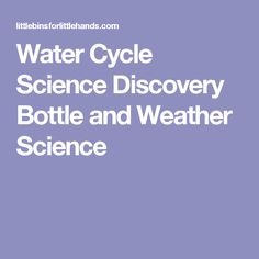 Water Cycle Science Discovery Bottle and Weather Science