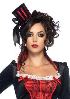 Goth Steampunk Victorian Costume Black Velvet RED Satin Stripe Mini TOP HAT | eBay