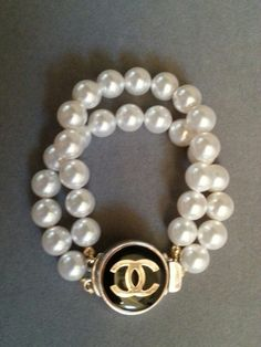 Chanel Button Bracelet  ArmCandy DesignsbyZ zumphlette@aol. com repurposed Button Sterling Clasp