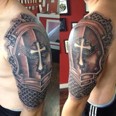 Armor sleeve coverup tattoo by Joshua Nordstrom in Kingsford Michigan