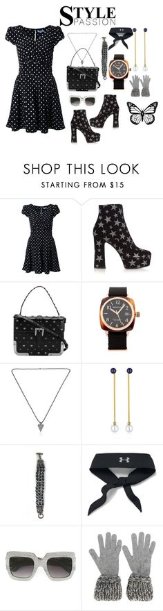 """Black style ..."" by jamuna-kaalla ❤ liked on Polyvore featuring Guild Prime, Yves Saint Laurent, RED Valentino, Briston, Vita Fede, Fotini Psarouli, St. John, Under Armour, Gucci and Chanel"