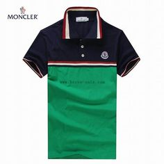 Moncler T-shirt for men red and blue fringes with dark green MW201503147