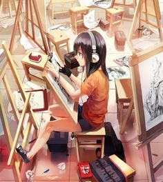 Anime picture 1000x1119 with  original rff (3 percent) girl long hair single blue eyes tall image black hair sitting ...
