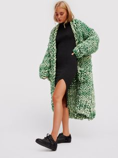 FP LOOPY MANGO Favorite So-Chunky Oversized Knit Sweater Coat (Emerald Green)