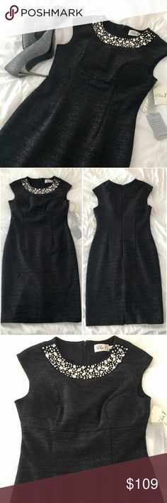 NWT Eliza J Sparkly Black Evening Cocktail Dress NWT truly stunning Eliza J sparkly black evening cocktail dress. Brilliant jeweled neckline. Fully lined and nice thick material throughout. There's an amazing shimmer to the black color on this dress that's subtle but shines beautifully - a spiced up LBD!  Perfect for that special night out! Eliza J Dresses