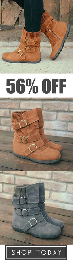 Cushioned Low-Calf Buckled Boots Low Heel Knitted Fabric Zipper Slip On Boots Look Fashion, Winter Fashion, Womens Fashion, Fashion 2018, Cheap Fashion, Fashion Trends, Zapatos Shoes, Slip On Boots, Snow Boots Women