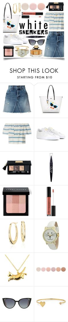 """""""Bright White Sneakers"""" by ittie-kittie on Polyvore featuring Yves Saint Laurent, Karl Lagerfeld, Mara Hoffman, Converse, Christian Dior, Maybelline, Bobbi Brown Cosmetics, Anastasia Beverly Hills, Blue Nile and Geneva"""