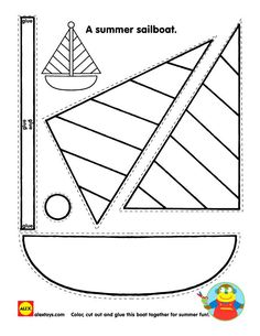 Coloring Pages Printable, Sailboat Shape Kids Printable Crafts Impressive Preschool Level Small Miniature Models Incredible Hand Creation: kids printable crafts free