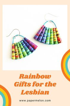 Looking for a meaningful gift for the lesbian in your life? Hit a sweet spot by picking her a rainbow to express your support and affection. The rainbow has the added benefit of being a natural and universal symbol that works in any language. This rainbow collection of jewelry and decor is thoughtfully handcrafted from rainbow colored paper. The recipient is sure to be thrilled with this unique rainbow gift. She's A Rainbow, Rainbow Colors, Lesbian Gifts, Christmas Gift Baskets, Basket Ideas, Colored Paper, Meaningful Gifts, Fundraising, Gift Guide