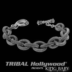 SPIRAL LINK Mens Bracelet in Sterling Silver by King Baby