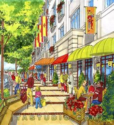 Streetscape rendering of a proposed project in NJ. Architecture Graphics, Landscape Architecture, Drawing Sketches, Drawings, Sketching, New Urbanism, Technical Drawing, Urban Design, Nature