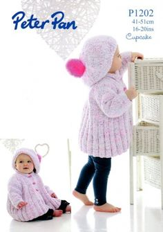 """Peter Pan P1202 uses Peter Pan Cupcake yarn. Sizes from newborn to 18 months. Tension/Gauge is 19 stitches=4"""" on 4.5 mm needles. Beret and Swing Jacket pattern from Wendy."""
