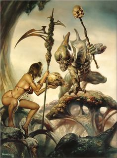 Vallejo's a master of Fantasy art. Many of his works're about affairs of Beasts and Beauties. On this pic an Amazon fight Bug Warrior.