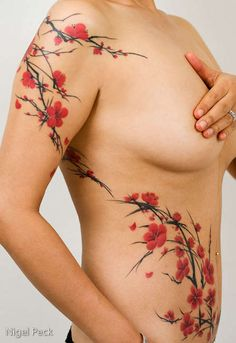 Cherry Blossom tattoo. Wouldn't want one this big, but super pretty!