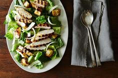 Chicken Caesar Salad with Anchovy-Caesar Vinaigrette and Garlic-Parmesan Croutons, a recipe on Food52