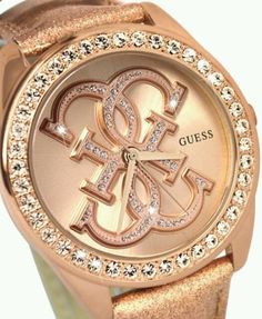 Guess Watch Women's Rose Gold Tone Dressy Wrist Fashion Jewelry New Style Bling