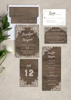 Rustic wedding invitation suite with romantic lace and woodgrain background.