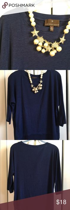 High low shimmery top Fenn Wright Manson - Beautiful blue high low top has 3/4 length sleeves. So silky and comfy! Silver strands lend a slight shimmer and elegance  to this top. Goes from day to night easily ⭐️make an offer⭐️ EUC Fenn Wright Manson Tops