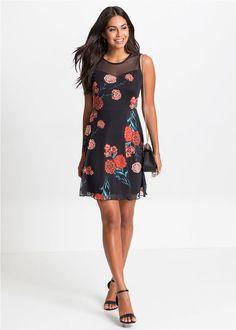 f54b8f2e10 Sukienka z siatkowego materiału w kwiaty • czarny w kwiaty • bonprix sklep