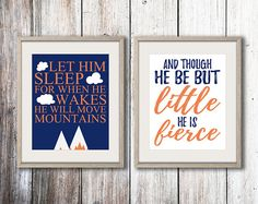 Let Him Sleep And Though He Be But Little Orange White Navy