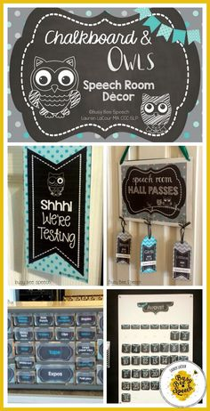 Cute speech room decor that's chalkboard and owl themed.  It's fully EDITABLE and includes lots of organizational tools and materials to get that speech room organized and fancy!