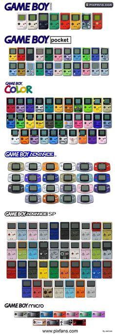 Estos son todos los colores del Game Boy.
