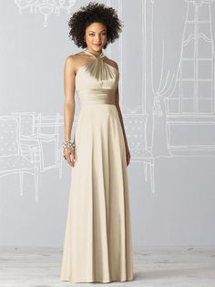 Love this champagne bridesmaid dress @Joelle Labastide  This is like the blue bridesmaid gown we saw in the bridal salon. This is similar to what it would look like in champagne. I don't think this is the silk char-moose, but it is similar.