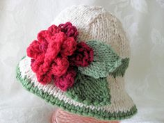 Hand Knitted Baby Hat Christmas Bonnet  cotton by CottonPickings, $32.00