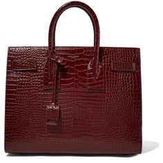 Saint Laurent Sac De Jour small croc-effect leather tote (14.860 RON) ❤ liked on Polyvore featuring bags, handbags, tote bags, bolsas, totes, burgundy, purse crossbody, red leather tote bag, leather tote purse and red leather handbags