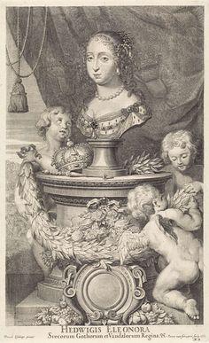 Pieter van Schuppen | Portret van Hedwig Eleonora, Koningin van Zweden, Pieter van Schuppen, 1667 | Portret van Hedwig Eleonora, Koningin van Zweden, in de vorm van een buste op een piëdestal. Op het met bloemen versierde voetstuk liggen haar kroon en scepter en een guirlande. Drie putti spelen rondom het voetstuk; een houdt een guirlande vast en kijkt vol bewondering op naar de buste. Op de achtergrond een jager met drie honden. In de benedenhoek 'N. 3'.