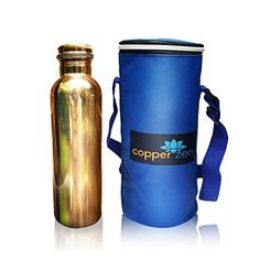 CopperZen Copper Water Bottle with Insulated Travel Bag and Adjustable Strap  Blue * You can find more details by visiting the image link.Note:It is affiliate link to Amazon.