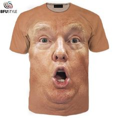 5b0132448ba7 Shocked Face Trump 3D T-Shirt Men Women New Fashion Short Sleeve O Neck  Funny T Shirt Camiseta Casual Brand Tops Tees 3XL