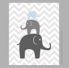 ► ► ► Many custom options - colors/patterns/other ◄ ◄ ◄    This print shows three stacked elephants. It will look great in a nursery and its also a